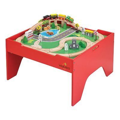 wooden train set and train table deal